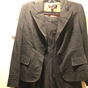 Anne Klein gray pinstripes skirt suit